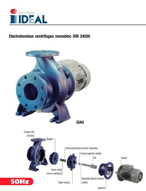 Catálogo electrobombas centrifugas monobloc Serie GNI. Bombas Ideal