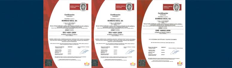 Certificados de Bombas Ideal